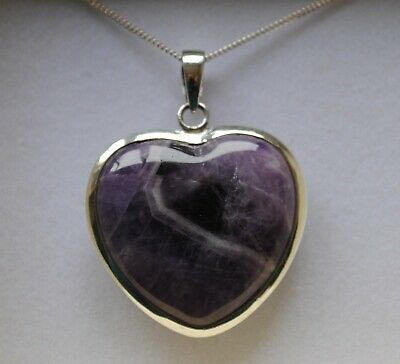 Large 925 Silver Chevron Amethyst Gemstone Heart Pendant Necklace in Gift Box