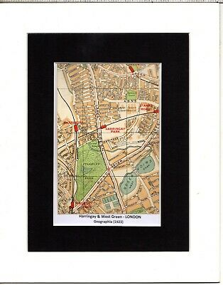 MAP ~ HARRINGAY & WEST GREEN in LONDON by GEOGRAPHIA ~ Mounted 1923