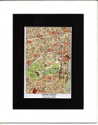 MAP ~ PARTS OF LONDON by GEOGRAPHIA ~ Mounted 1923