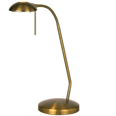Touch Dimmer Table Lamp Light –Antique Brass & Adjustable Neck– Classic Reading