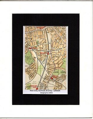 MAP ~ NEW CROSS, NUNHEAD, BROMLEY London by GEOGRAPHIA~ Mounted 1923