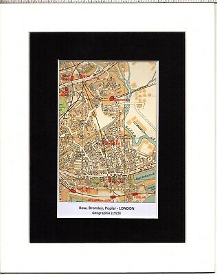 MAP ~ BOW, BROMLEY, POPLAR London by GEOGRAPHIA~ Mounted 1923