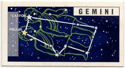 Gemeni Constellation  Zodiac Twins Sign Astrology Vintage Trade Ad Card