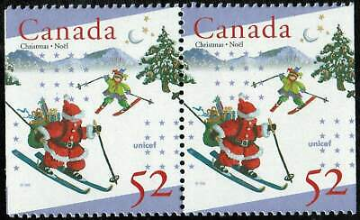 Canada Sc#1628as Christmas & Unicef, Pair from Booklet Bk197, Mint-NH
