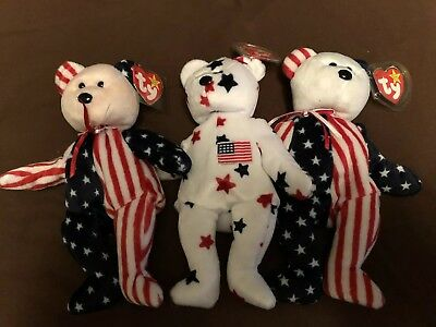 TY BEANIE BABIES PATRIOT Teddy Bear Flag On Right Foot Retired New w ... 4f19087d6797
