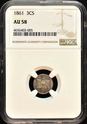 1861 Three Cent Piece - Silver Type 3 3CS NGC AU58