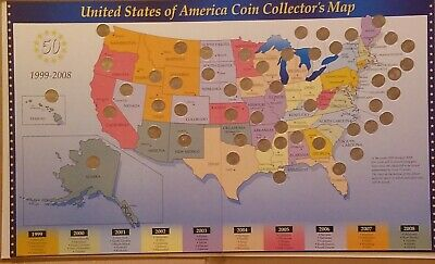 The 50 United States of America State Coin Collector's Map w/ Quarters & booklet