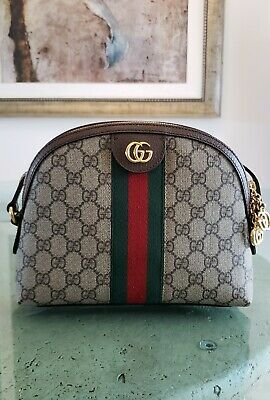 1e5c04ba87b Gucci Ophidia Small Shoulder Bag Crossbody GG Supreme Canvas Web Brown  Leather