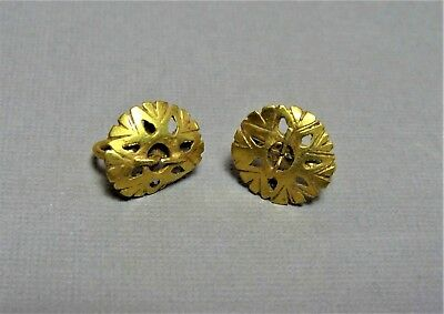 2 Ancient Gold Earrings, Byzantine 400-600 Ad