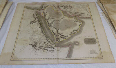 """1814 Antique COLOR Map///ARABIA, EGYPT, ABYSSINIA, RED SEA, ETC.///Large 21x28"""""""