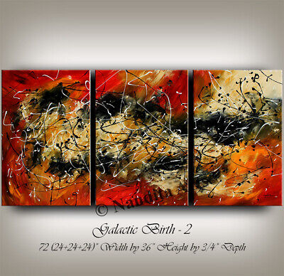 Abstract Look Red Original Abstract Painting on Canvas Stretched Artwork Nandita