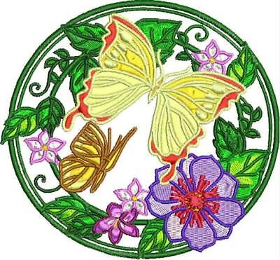 Butterfly Flower Circles 10 Machine Embroidery Designs Cd 2 Sizes