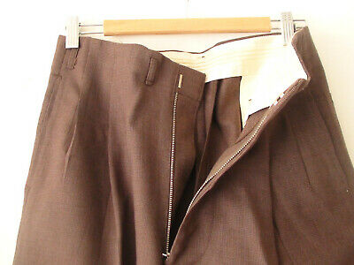 ORIGINAL VINTAGE DEADSTOCK 1940S MEN'S PANTS HOLLYWOOD WAIST WOOL w30 x 29