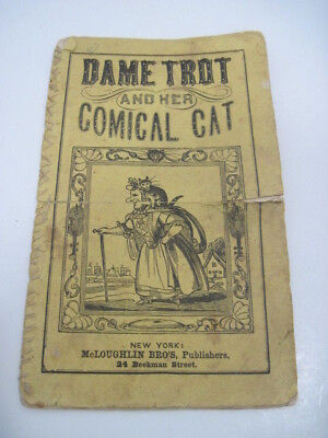 RARE Antique 1800'S Dame Trot And Her Comical Cat Victorian Children's Book