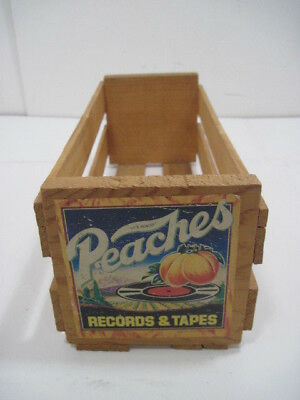 """Old Wood Small Peaches Records And Tape Crate Storage Advertisinf 12""""x5""""x4"""""""