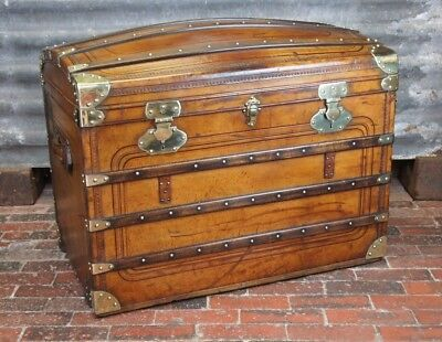 Outstanding Immaculate Antique Leather & Brass Large Steamer Trunk