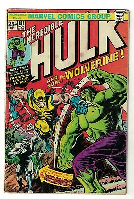 Marvel Comics Incredible Hulk 180 181 182 1st App Wolverine 1974 VG- 3.5 4.5.40