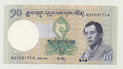 Bhutan 10 Ngultrum 2006 Pick 29 UNC Uncirculated Banknote