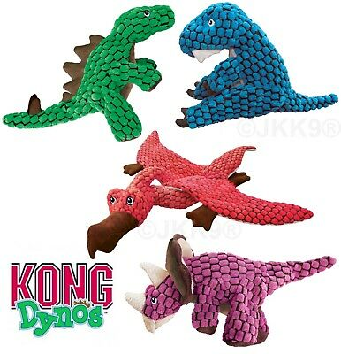 KONG Dynos Dog Puppy Toy Squeaky Crinkle Soft Dogs Fetch Toys Jurassic Dinosaurs