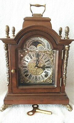 Clock Warmink Wubba Vintage Dutch Shelf Moon Dial Night Switch Wind Up
