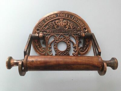 Victorian Toilet Roll Holder Heavy Copper Iron Finish Vintage Unusual Crown Old