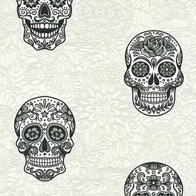 Sugar Skull Wallpaper Glitter Gothic Floral White Silver Black Textured Vinyl