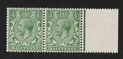 N14c. 1/2d green pair, one value no watermark. MNH + RPS cert. Cat £200+