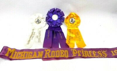 Vtg Lot of 3 Horse Show Ribbons 1957& 60, & Rodeo Princess Sash 1965 Mich & Ind