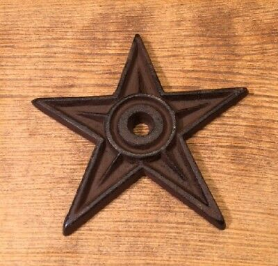 "Cast Iron Center Hole Star Anchor Plates Rustic Large 6 1/2"" wide 0170-02106"