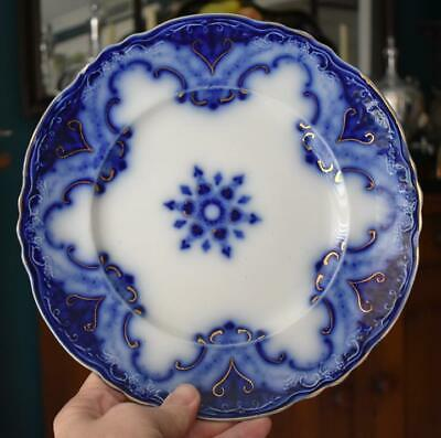 Circa 1891 Alfred Meakin Cambridge Flow Blue Gilded Luncheon Dinner Plate #3