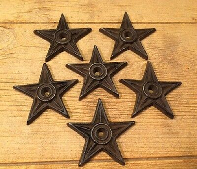 "Cast Iron Center Hole Star Anchor Plates 4"" Wide (Set of Six) Decor 0170-02107"