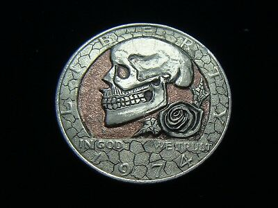 1974 JFK Half dollar  hobo nickel - SKULL