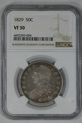 1829 Capped Bust Half Dollar 50C Type 1 Ngc Certified Vf30 Very Fine (004)