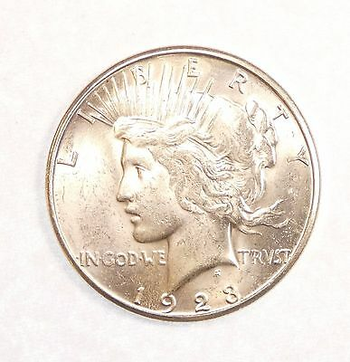 1923-S Peace Dollar Nice BRILLIANT UNCIRCULATED Silver Dollar