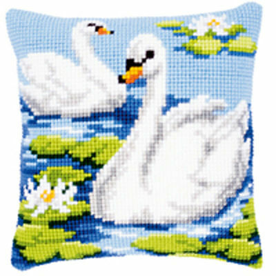 Swans NEW chunky cross stitch cushion front kit 40x40cm tapestry canvas Vervaco