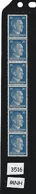 MNH Stamp strip / Adolph Hitler / 1941 Issue PF20 / Nazi Germany / Third Reich