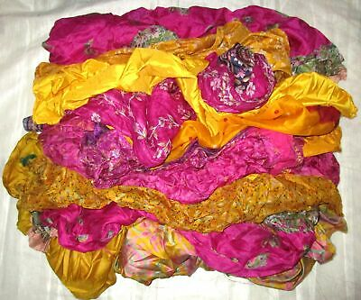 UK LOT PURE SILK Vintage Sari REMNANT Fabrics 100 GRAMS Yellow Rani #ABM4M