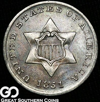 1851 Three Cent Silver Piece, Tough Type