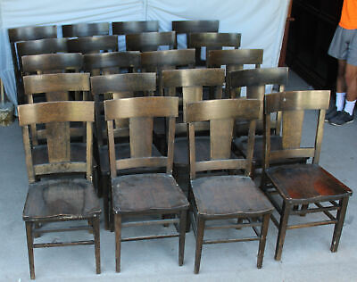 Set of 18 Matching Antique Arts and Crafts Mission Oak Dining Chairs