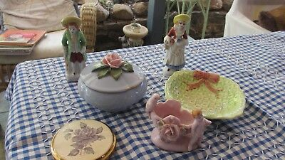 Vintage Ladies Dressing Table lot,Compact,Powder Bowl,Ornaments & Dish