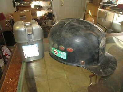 60's Low Vein Comfo Cap Miners Helmet w. Union Carbide safety awards + MSA respi
