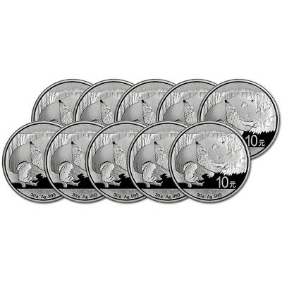 2016 China Silver Panda (30 g) 10 Yuan - BU in Original Capsule - Ten (10) Coins
