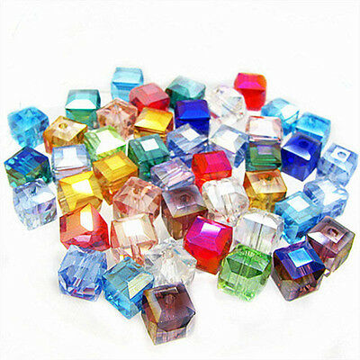 Wholesale 50/100Pcs Cube Glass Crystal Loose Spacer Beads Charms DIY Jewelry Acc