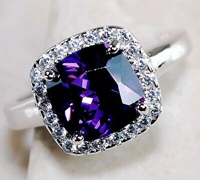 AAA Grade 2CT Amethyst & White Topaz 925 Solid Sterling Silver Ring Jewelry Sz 7