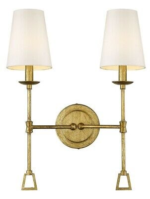 """Antiqued Distressed Gold 2-Light Sconce 20"""" H  White Fabric Shades Wall Fixture"""