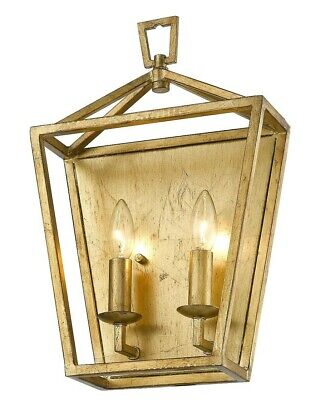 """Antiqued Gold Open Lantern Wall Sconce Fixture 17"""" H ADA staircase 2 Light NEW!"""