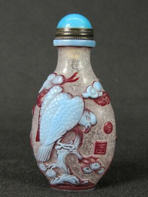 Chinese Hawk On Pine Tree Carved Peking Overlay Glass Snuff Bottle