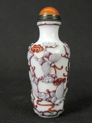 Chinese Nine Butterflies Carved Peking Overlay Glass Snuff Bottle