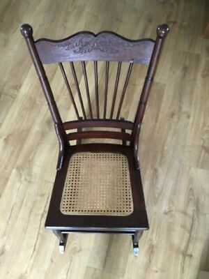 Antique Circa 1860  Ladies Sewing Petite Rocker Excellent Original Cane Seat