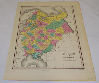 1827 Antique COLOR Map///RUSSIA IN EUROPE